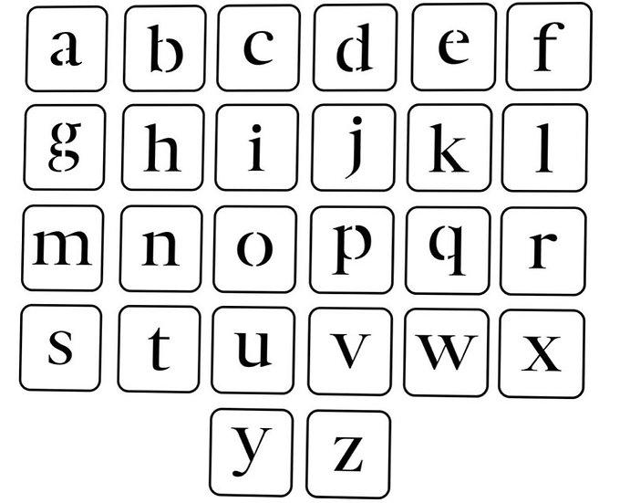 Lower Case Letter JRV Stencils