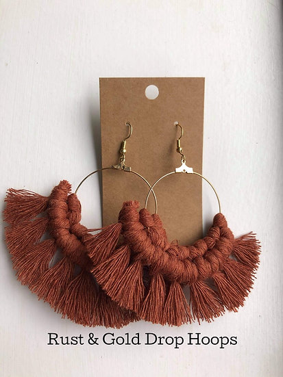 Rust and Gold Drop Hoops/Macrame Earrings