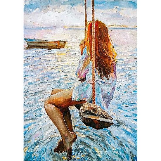 Girl On A Swing - Decoupage