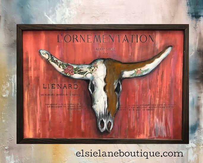 Original artwork Bull Skull Painting