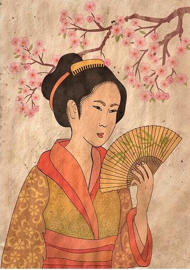 Geisha Decoupage (Reversed)