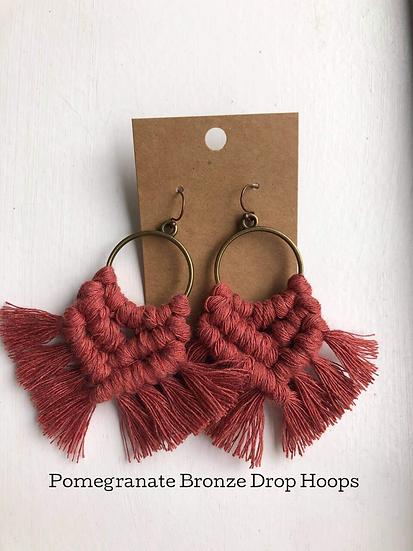Pomegranate Bronze Drop Hoops/Macrame Earrings