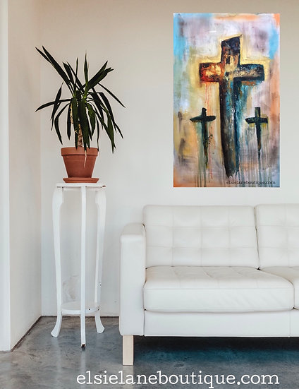 Original Artwork / Painting of 3 Crosses /Shipping Included