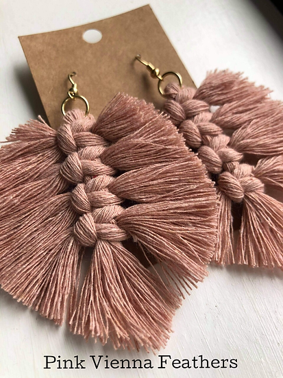Pink Vienna Feathers/Macrame Earrings