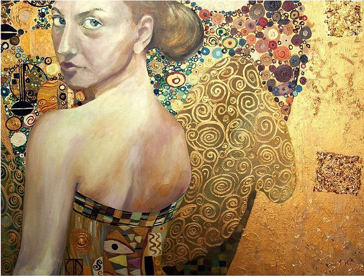 Beautiful Woman in Gold - Decoupage