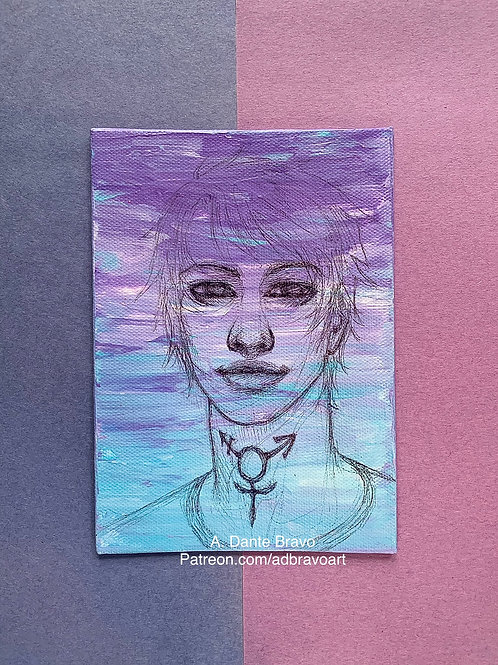 Trans Man Portrait: Cobalt Blue