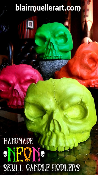 Skull Candle Holder - NEON