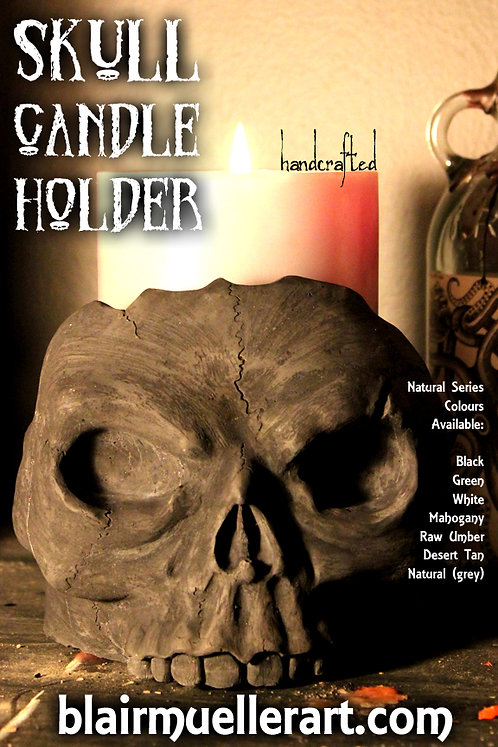 Skull Candle Holder - NATURAL
