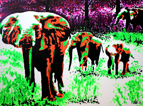 Elephant Family Out For a Stroll