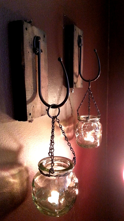 Hanging Glass Tealight Sconces