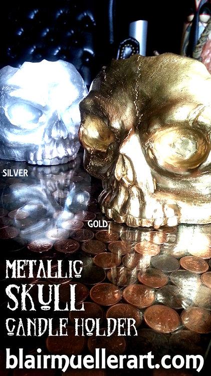 Skull Candle Holder - METALLIC
