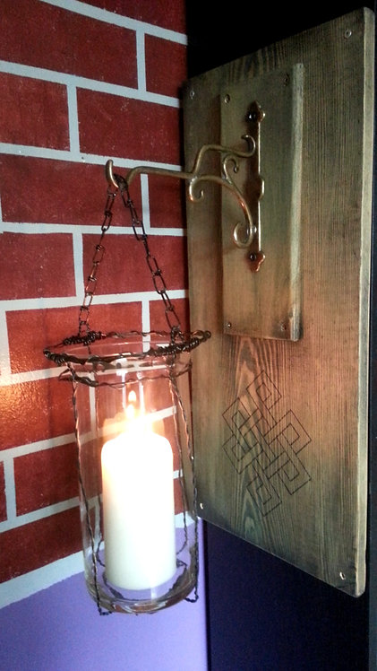 Hanging Glass Candle Sconce (Pine)