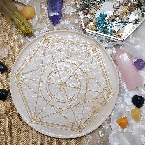 Handmade Large crystal grid for abundance ceramic textured