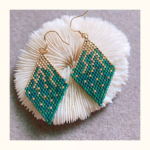 Beaded earrings Vintage green and gold DIY or Ready to wear