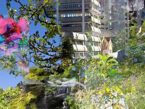 Urban Mesh (detail) 2400 x 50,000mm Digital Print on Vinyl  135 Albert St  Tamaki Makaurau Auckland Aotearoa New Zealand