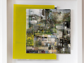 Outlook 20.07.19 (Urbanism Smurbanism), 2019  archival pigment print on Ilford fine art paper, paint. 460 x 455 x 35mm