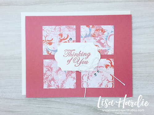Rose Coloured Thinking of You Card