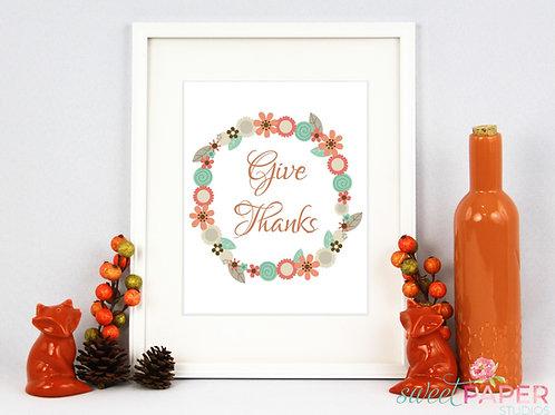 Give Thanks Fall Wreath Printable