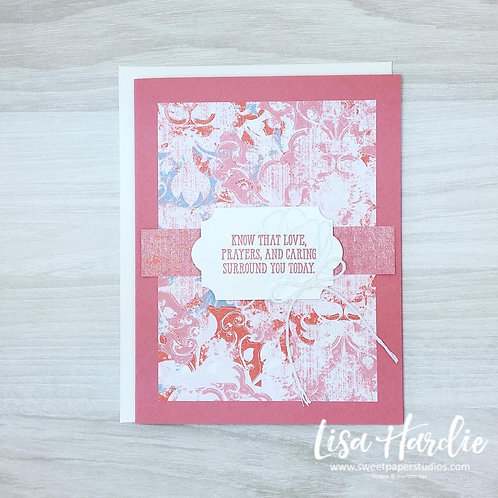 Rose Coloured Sympathy Card