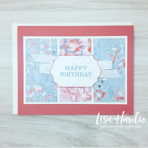 Rose Coloured Birthday Card