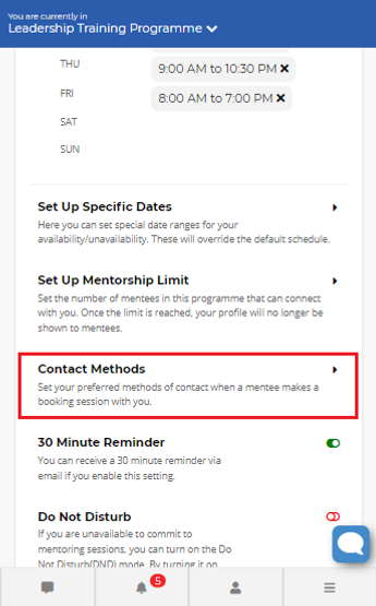 Image 15 Availability Settings - Contact