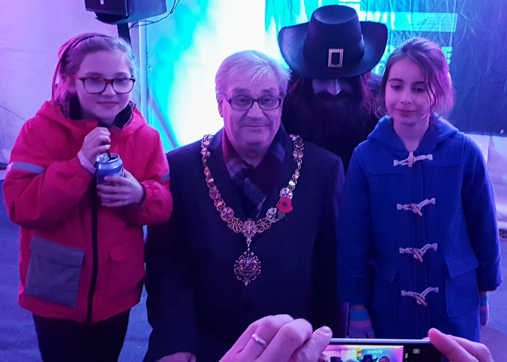 Guy and the Mayor of Cambridge meet the other shortlisted entrant from the 8-11 category: Agatha, right, with her friend Elizabeth.