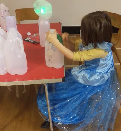 Among the light-themed activities was lantern painting (pictured), pumpkin carving, scratch art, and more.