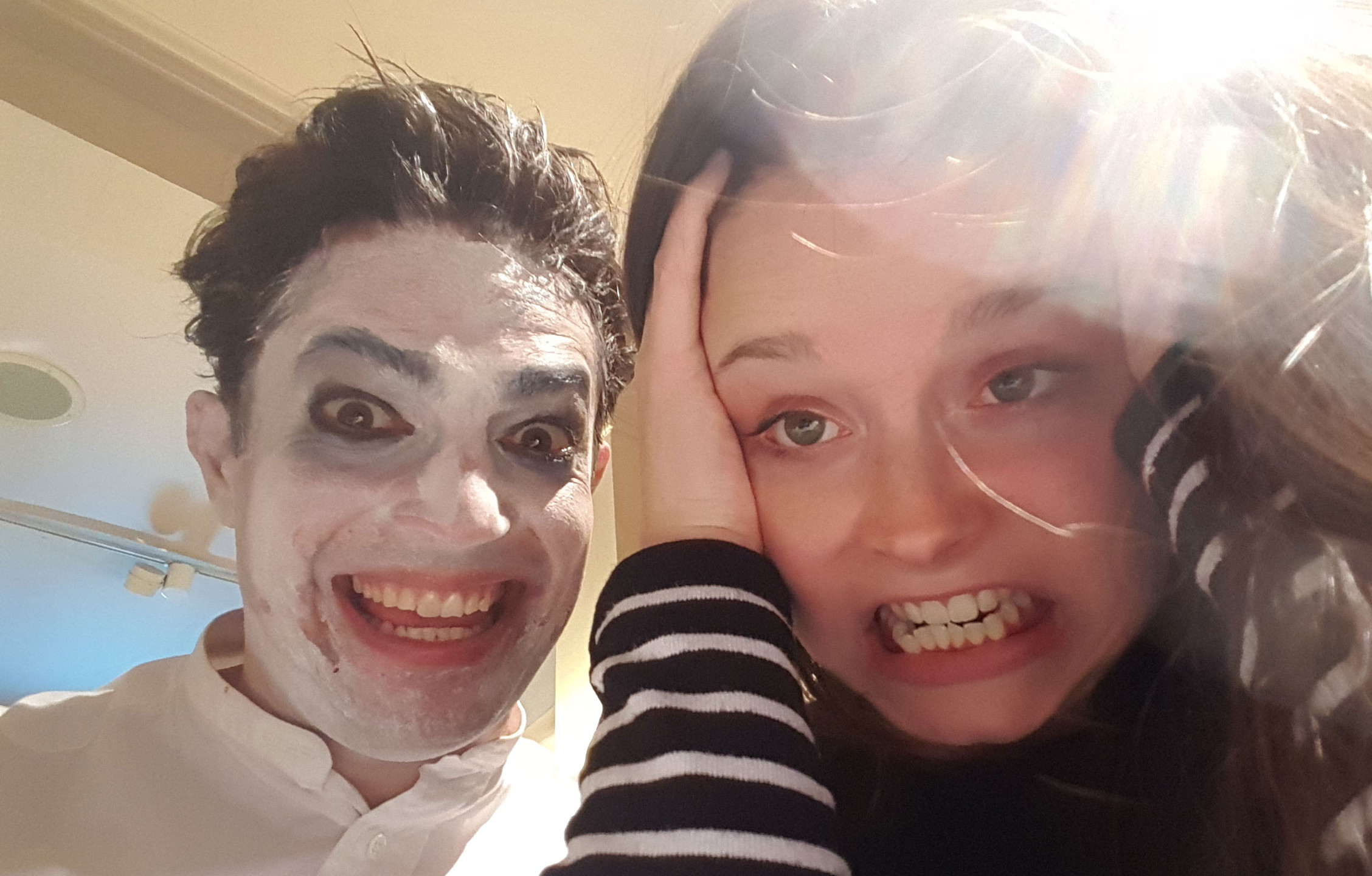 After the bonfire, Guy's make-up artist Emma Sutcliffe (right) bumped into a slightly odd-looking Snail Tales storyteller, Chip...