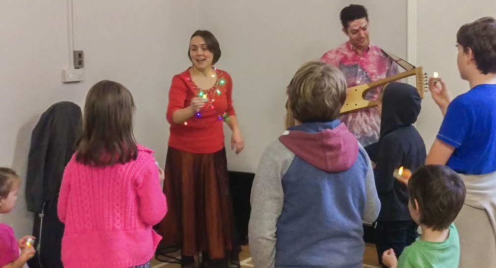 An electro-acoustic lyre and LED candles helped us celebrate All Hallow's Eve with a traditional and much-loved Sunday School song.