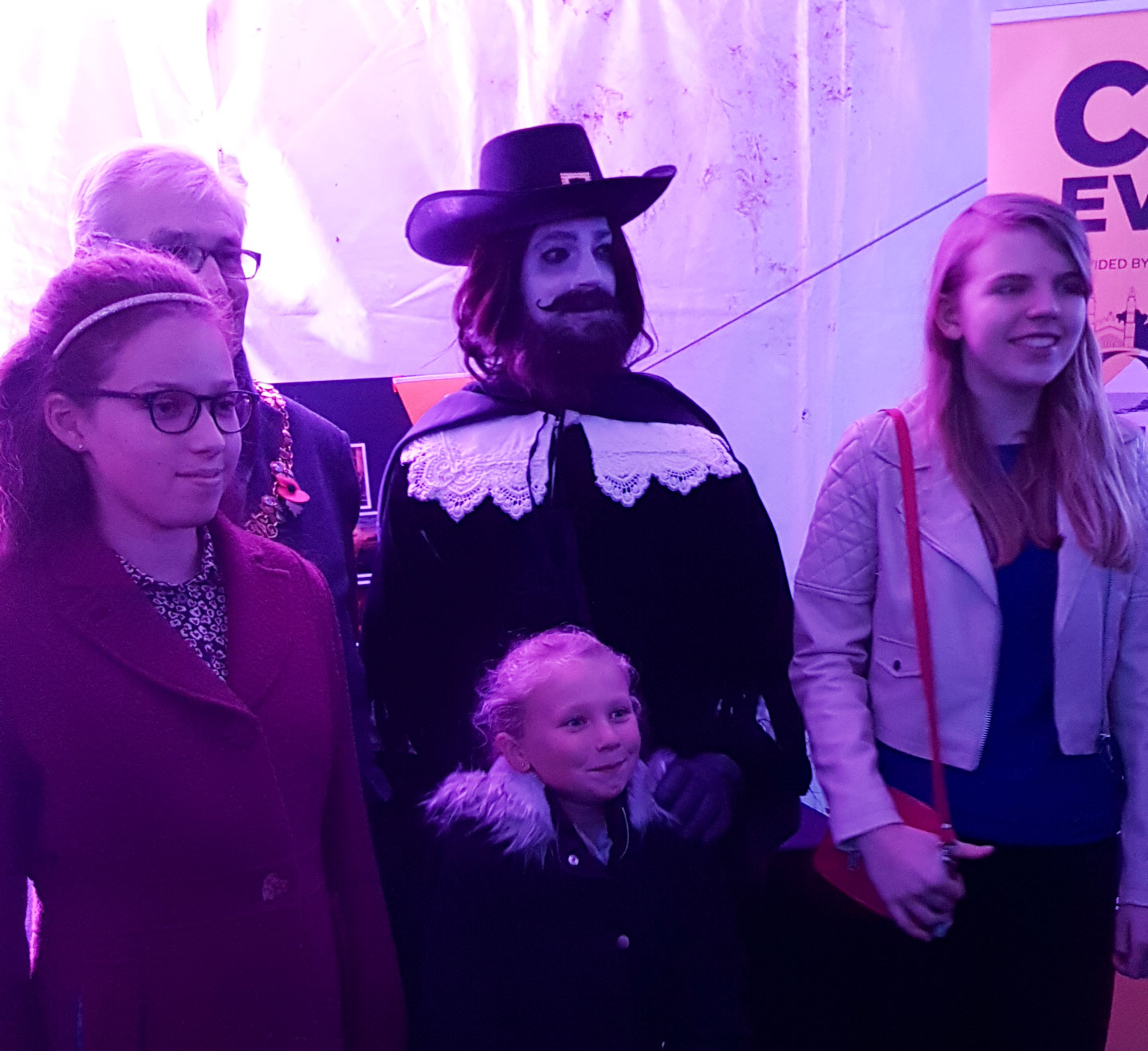 Guy and the Mayor of Cambridge are joined by the shortlisted entrants from the 12+ category (Eve, right, and Lily, left), and one from the 8-11 category (Emily, centre).