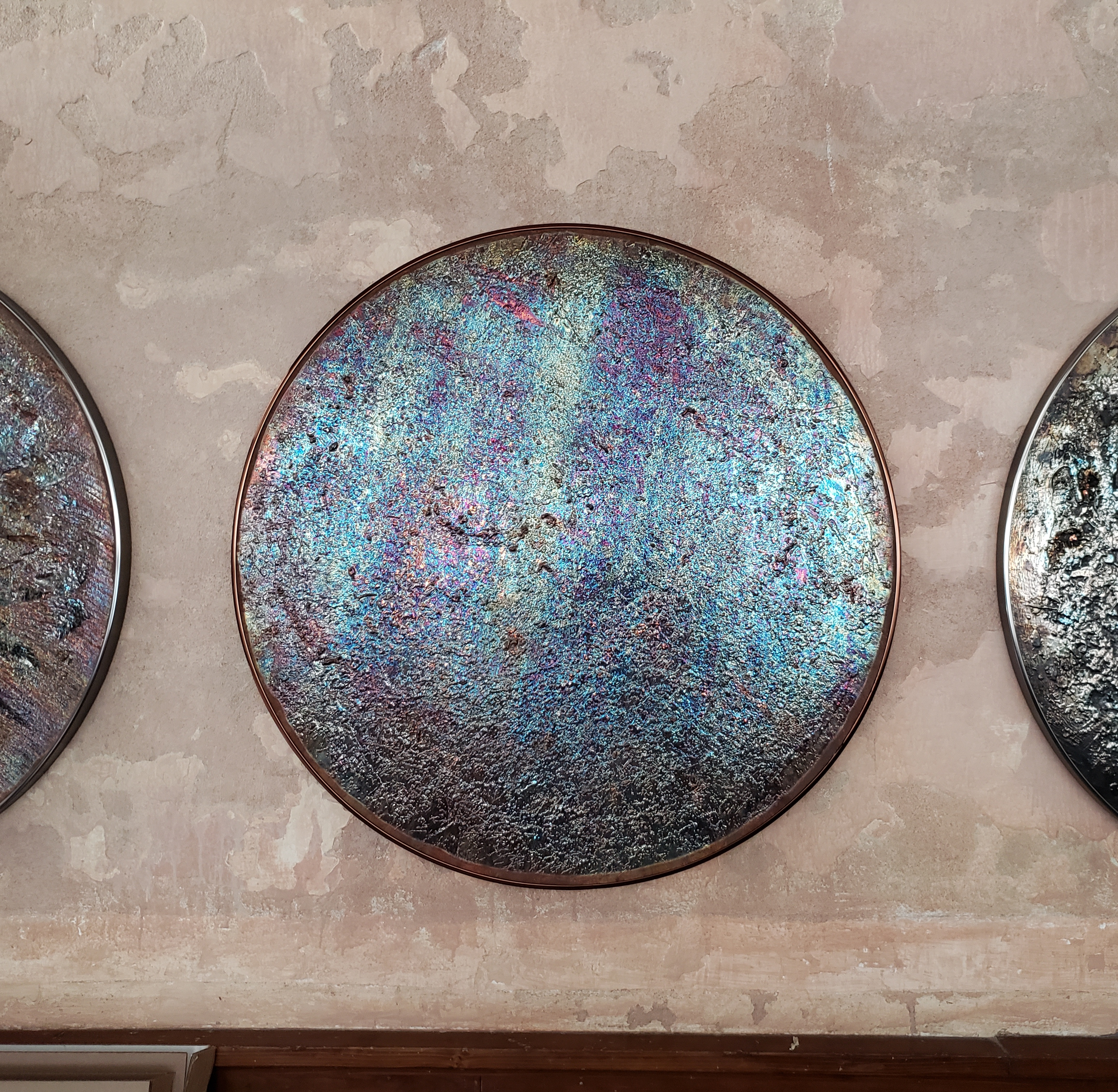 """36"""" copper disc with patina"""
