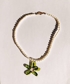 cute pearl necklace with 90s style green flower