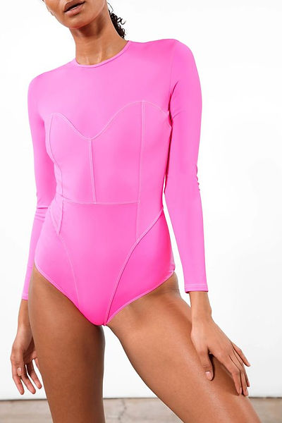 bright pink sustainable surf swim suit
