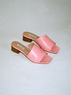 Asyemtrical pink patent leather sandals from ethical footwearbrand About Arianne