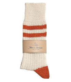 Merz B. Schwanen - retro vibe socks in white and orange - organic