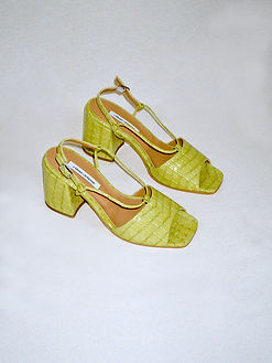 leather green croco print sandals from ethical footwear brand About Arianne