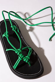 greek sandals with green knotted leather