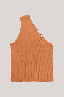 One shoulder asymetrical ribbed kotton top from ethical clothing brand Mundaka