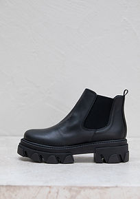 first ever black chunky boots made with eco friendly vegan corn leather