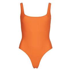 orange sporty swimsuit from sustainable Bower swimwear