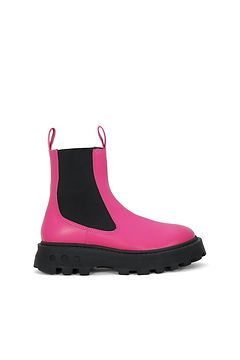 Simon Miller Pink PATENT LEATHER CHELSEA-STYLE PULL Boot WITH CHUNKY SCRAMBLER SOLE.