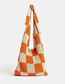 knitted bag with orange creme checkerd pattern