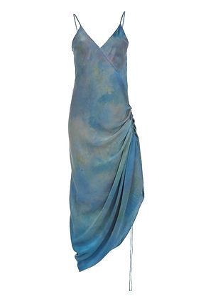 sexy orange silk hand dyed cloud print blue dress ethical brand SVNR