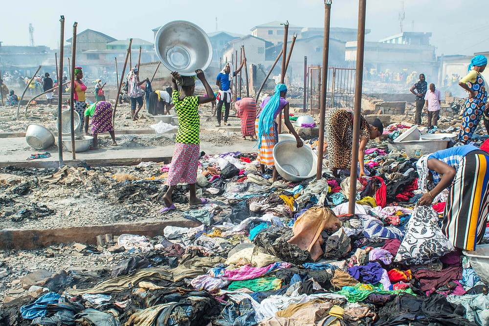 old western clothes dump in African country