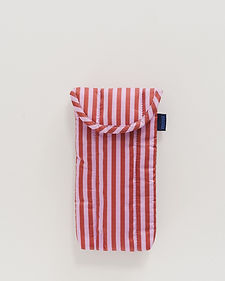 red and pink striped recycled sunglass sleeve