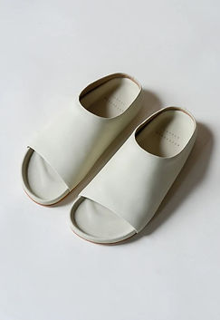 Lauren Manoogian - off white slide on slippers - cork and leather