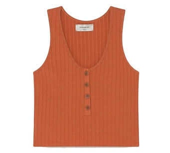 Thinking Mu - burnt organge tank top with buttons - made in spain
