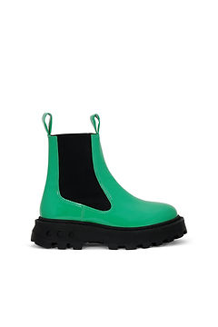 Simon Miller Green PATENT LEATHER CHELSEA-STYLE PULL Boot WITH CHUNKY SCRAMBLER SOLE.