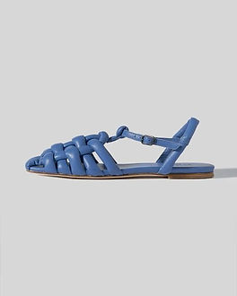 blue paddedleather fisherman sandals from ethical footwear brand HEREU