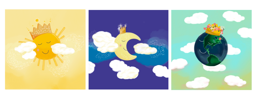 Nursery Art: Sun, Moon and Earth